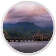 Early Morning At The Hanalei Pier Round Beach Towel by John Hight
