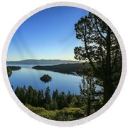 Early Morning Emerald Bay Round Beach Towel