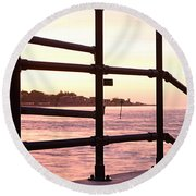 Early Morning Railings Round Beach Towel