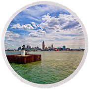 East Pierhead Lighthouse View Of Cleveland Round Beach Towel
