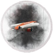 Easyjet Airbus A319-111 Painting Round Beach Towel