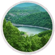 Edersee Lake Surrounded With Forest Round Beach Towel
