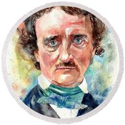 Edgar Allan Poe Portrait Round Beach Towel