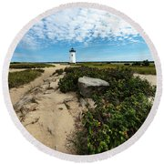 Edgartown Lighthouse Marthas Vineyard Round Beach Towel