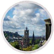 Edinburgh Castle From Calton Hill Round Beach Towel