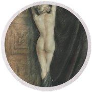 Edouard Chimot Nude In Boudoir  Round Beach Towel