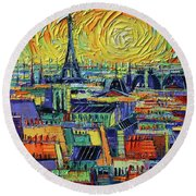 Eiffel Tower And Paris Rooftops In Sunlight Textural Impressionist Stylized Cityscape Mona Edulesco Round Beach Towel