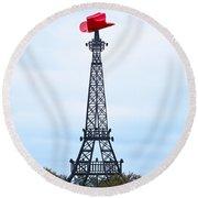 Eiffel Tower In Paris Texas Round Beach Towel