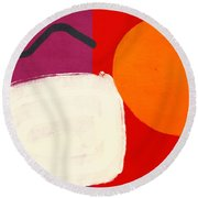 Elation 3- Abstract Art By Linda Woods Round Beach Towel