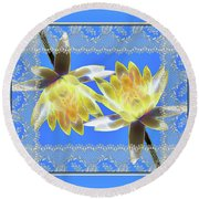 Electric Yellow Water Lilies Round Beach Towel
