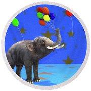 Elephant Celebration Round Beach Towel