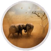 Elephants At Sunset 072 - Painting Round Beach Towel