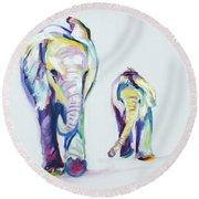 Elephants Side By Side Round Beach Towel