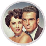 Elizabeth Taylor And Montgomery Clift, Hollywood Legends Round Beach Towel
