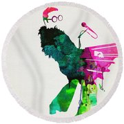 Elton Watercolor Poster Round Beach Towel