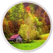 Embraced In Autumn Color Painting Round Beach Towel