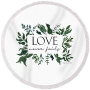 Emerald Wild Forest Foliage 2 Watercolor Round Beach Towel