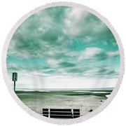 Empty Beach Bench Round Beach Towel