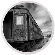 End Of The Line Bw Round Beach Towel