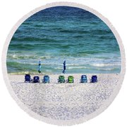 Endless Blue Round Beach Towel