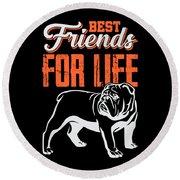 English Bulldog Best Friends For Life Round Beach Towel