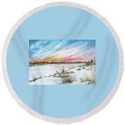 Ephemeral Sunset Round Beach Towel