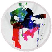 Eric Clapton Watercolor Round Beach Towel