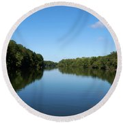 Erie Canal In Early Autumn Round Beach Towel