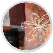 Espresso Flower 1-  Art By Linda Woods Round Beach Towel