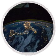 Italy From Space At Night Round Beach Towel