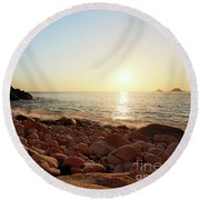 Evening Glow At Porth Nanven Round Beach Towel