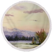 Evening In The Mountains Round Beach Towel