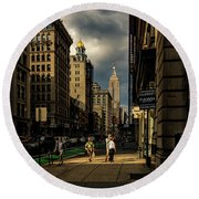 Evening On Fifth Avenue Round Beach Towel by Chris Lord