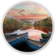 Evening On The Lake Round Beach Towel