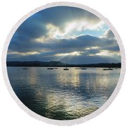 Evening On Windermere In Lake District National Park Round Beach Towel
