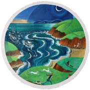 Evening Sea Breezes Round Beach Towel