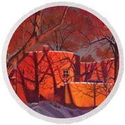 Evening Shadows On A Round Taos House Round Beach Towel