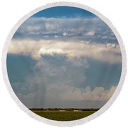 Evening Supercell And Lightning 012 Round Beach Towel