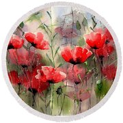 Everything About Poppies Round Beach Towel