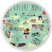 Exlore More World Map Round Beach Towel