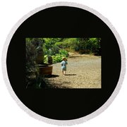 Explore, Edgefield Garden Round Beach Towel