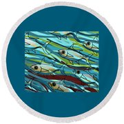 F Is For Fish Round Beach Towel
