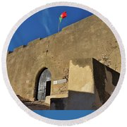 Facade Of The Medieval Castle Of Castro Marim Round Beach Towel