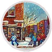Face Off Street Hockey At The Corner Dep Snow Falling Streets Of Montreal Quebec Artist C Spandau Round Beach Towel