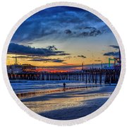 Fading To The Blue Hour - Ferris Wheel Round Beach Towel