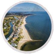 Fairfield Beach Connecticut Aerial Round Beach Towel