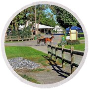 Fairgrounds In Rhinebeck New York Round Beach Towel