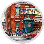 Fairmount Bagel Bakery Laneway Hockey Art Depanneur Winter Scenes C Spandau Montreal Landmark Stores Round Beach Towel
