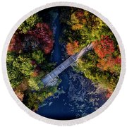 Fall Aerial With Bridge Round Beach Towel