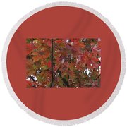 Fall Collage Round Beach Towel